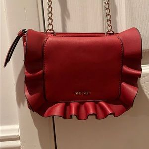 Red ruffle bag